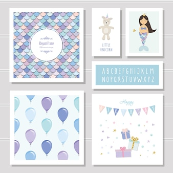Mermaid birthday cards set.
