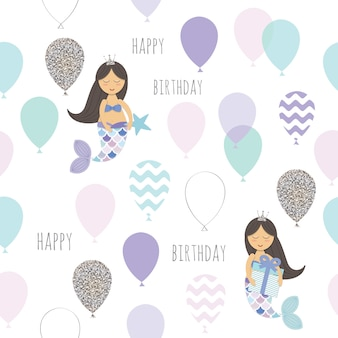 Mermaid birthday seamless pattern background.