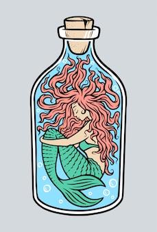 Mermaid in the bottle illustration