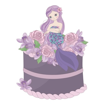 Mermaid cake floral sweet princess