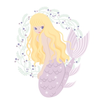 Mermaid cartoon character with florals frame