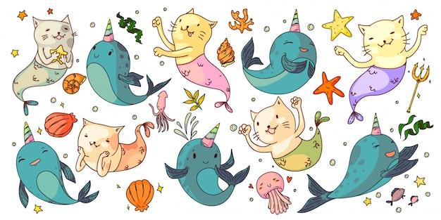 인어 고양이와 유니콘 일각 고래. 판타지 수중 동물을 설정합니다. 재미있는 인어 고양이, 유니콘 일각 고래, 껍질, 해파리, 불가사리 모음. 요정 바다 자연 도면