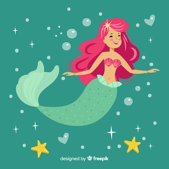 Mermaid character portrait flat design