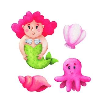 人魚、巻き貝、タコ、ホタテ、ピンクの配色。こどもイラスト集