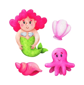 Mermaid, conch, octopus, scallop, in a pink colour scheme. collection of children's illustrations