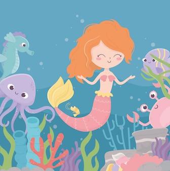 Mermaid crab octopus seahorse coral reef algae cartoon under the sea vector illustration