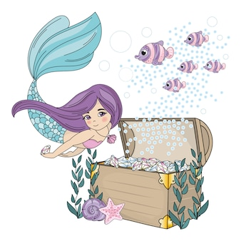 Mermaid diamond sea travel clipart color vector illustration set