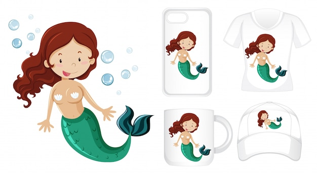 Mermaid on different types of product template