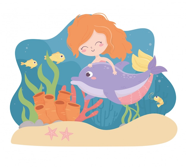 Mermaid dolphin fishes shrimp starfish sand coral cartoon under the sea vector illustration