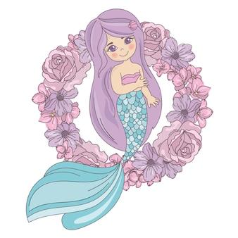 Mermaid flowerプリントの花輪のベクトル図