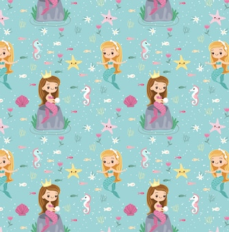 Mermaid and friend seamless pattern