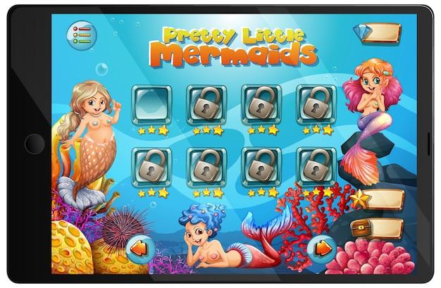 タブレット画面の人魚ゲーム