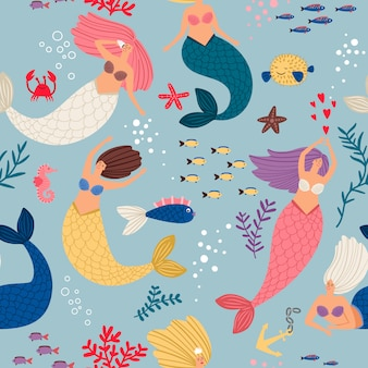 Mermaid girls pattern