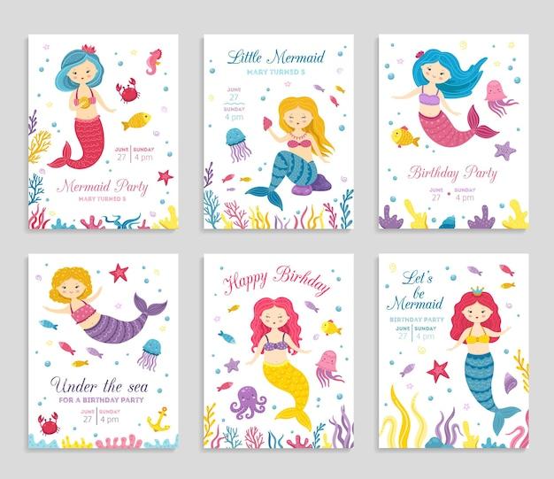 인어 초대 카드. 생일 포스터, 어린이 파티 초대장. 귀여운 바다 공주와 동물 전단지. 놀라운 바다 축제 벡터 배너입니다. 수중 일러스트와 함께 초대 타이포그래피 생일
