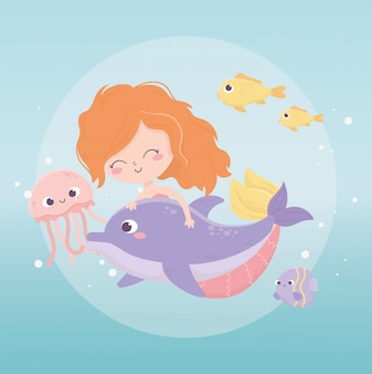 Mermaid jelyfish fishes bubbles cartoon under the sea vector illustration