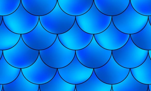 Русалка каваий шаблон. голографическая рыбья чешуя. синий цвет. ,