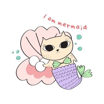 Нарисованная вручную иллюстрация mermaid.kid кота.