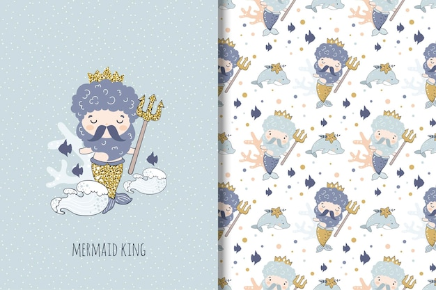 Mermaid king illustration and seamless pattern