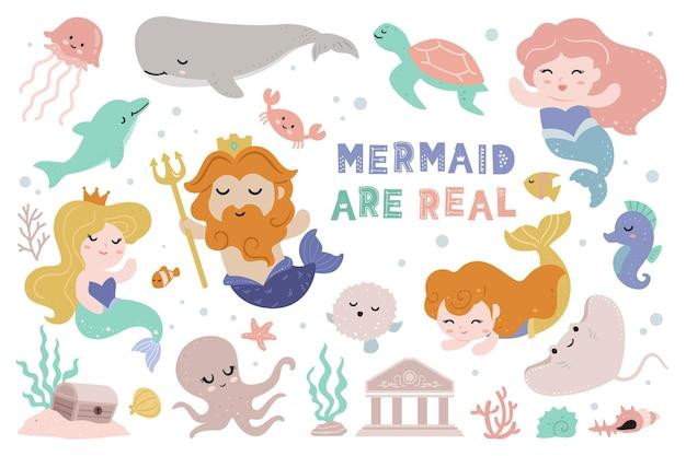 Mermaid and king mermaid clipart for kids