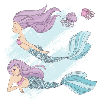 Mermaid life cartoon travel tropical vector illustration set