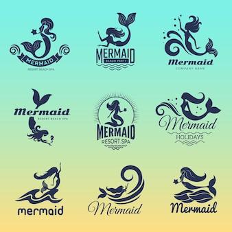 인어 로고. 해양 수영 동화 여성 바다 기호 벡터 배지 컬렉션입니다. 그림 소녀 물고기 수중, 스파 리조트에 대한 고립 된 세트