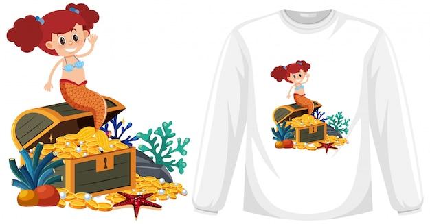 Mermaid on long sleeve t-shirt