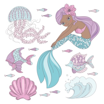 Mermaid look princess sea animal