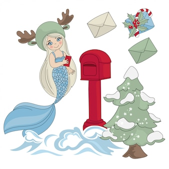 Mermaid mail new year color illustration set