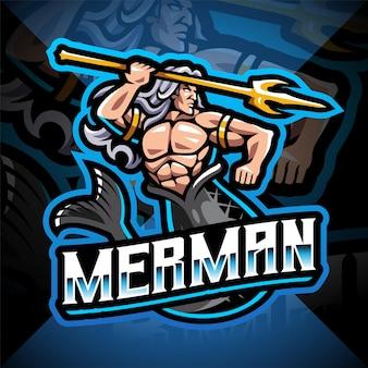 Mermaid man holding a trident esport mascot logo