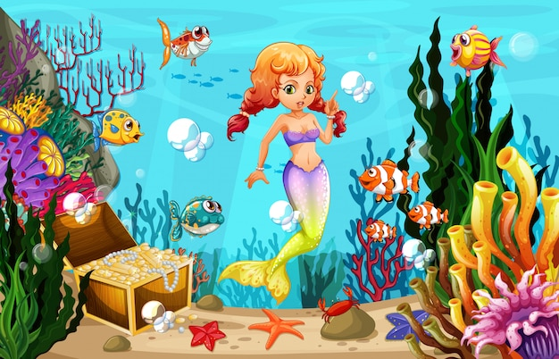 Mermaid and many fish under the ocean