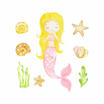 Mermaid, marine plants and animals. collection decorative design elements. cartoon sea flora and fauna in watercolor style. isolated objects