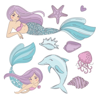 Mermaid ocean cartoon travel tropical vector illustration