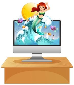 コンピューター画面上の人魚