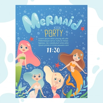Mermaid party invitation. design template invite kids birthday cards with funny underwater characters fish and young mermaid princess