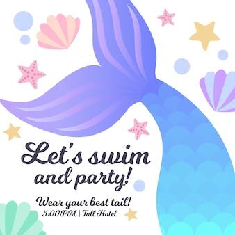 Приглашение на вечеринку mermaid party