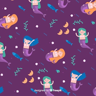 Mermaid pattern in flat style