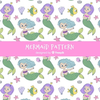 Mermaid pattern hand drawn style
