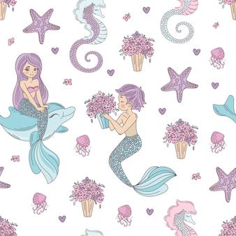Mermaid pattern wedding seamless pattern vector illustration