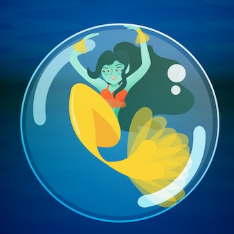 Mermaid playing inside a bubble