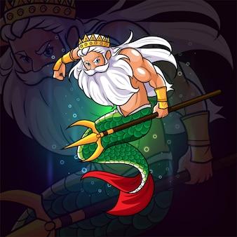 The mermaid of poseidon with trident esport logo design of illustration