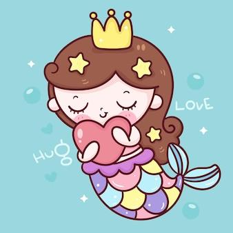 Русалка принцесса мультфильм обнять сердце каваи иллюстрация