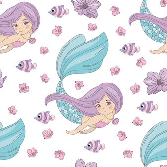 Mermaid princess sea travel seamless pattern vector