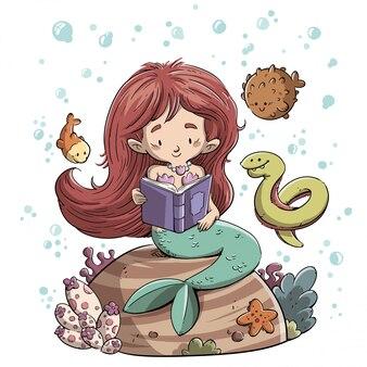 魚に囲まれた本を読む人魚