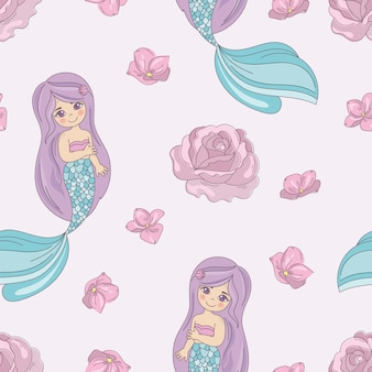 Mermaid rose decorative vector illustration seamless pattern