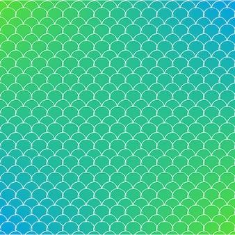 Масштаб русалки на модном фоне градиента. квадратный фон с орнаментом в виде чешуи русалки. яркие цветовые переходы. баннер рыбьего хвоста и приглашение. подводный и морской образец. зеленый и синий цвета.