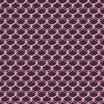 マーメイドスケールのシームレスパターン。魚の皮の質感。女の子の生地、テキスタイルデザイン、包装紙、水着、壁紙のティラブルな背景。水中の魚の鱗と紫の人魚の背景。