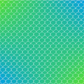 Mermaid scale on trendy gradient background. square backdrop with mermaid scale ornament. bright color transitions. fish tail banner and invitation. underwater and sea pattern. green and blue colors.