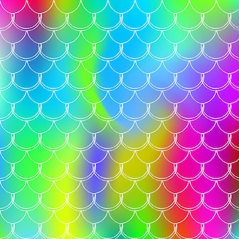 인어는 홀로그램 그라데이션으로 배경을 조정합니다. 밝은 색상 전환. 물고기 꼬리 배너 및 초대장입니다. 여자 파티를 위한 수중 및 바다 패턴입니다. 인어 비늘이 있는 무지개 빛깔의 배경입니다.