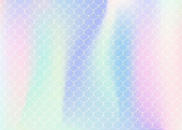 Русалка масштабирует фон с голографическим градиентом. яркие цветовые переходы. баннер рыбьего хвоста и приглашение. подводный и морской узор для девичьей вечеринки. модный фон с чешуей русалки.