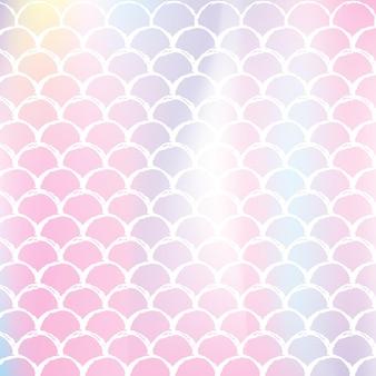 인어는 홀로그램 그라데이션으로 배경을 조정합니다. 밝은 색상 전환. 물고기 꼬리 배너 및 초대장입니다. 여자 파티를 위한 수중 및 바다 패턴입니다. 인어 비늘이 있는 트렌디한 배경입니다.